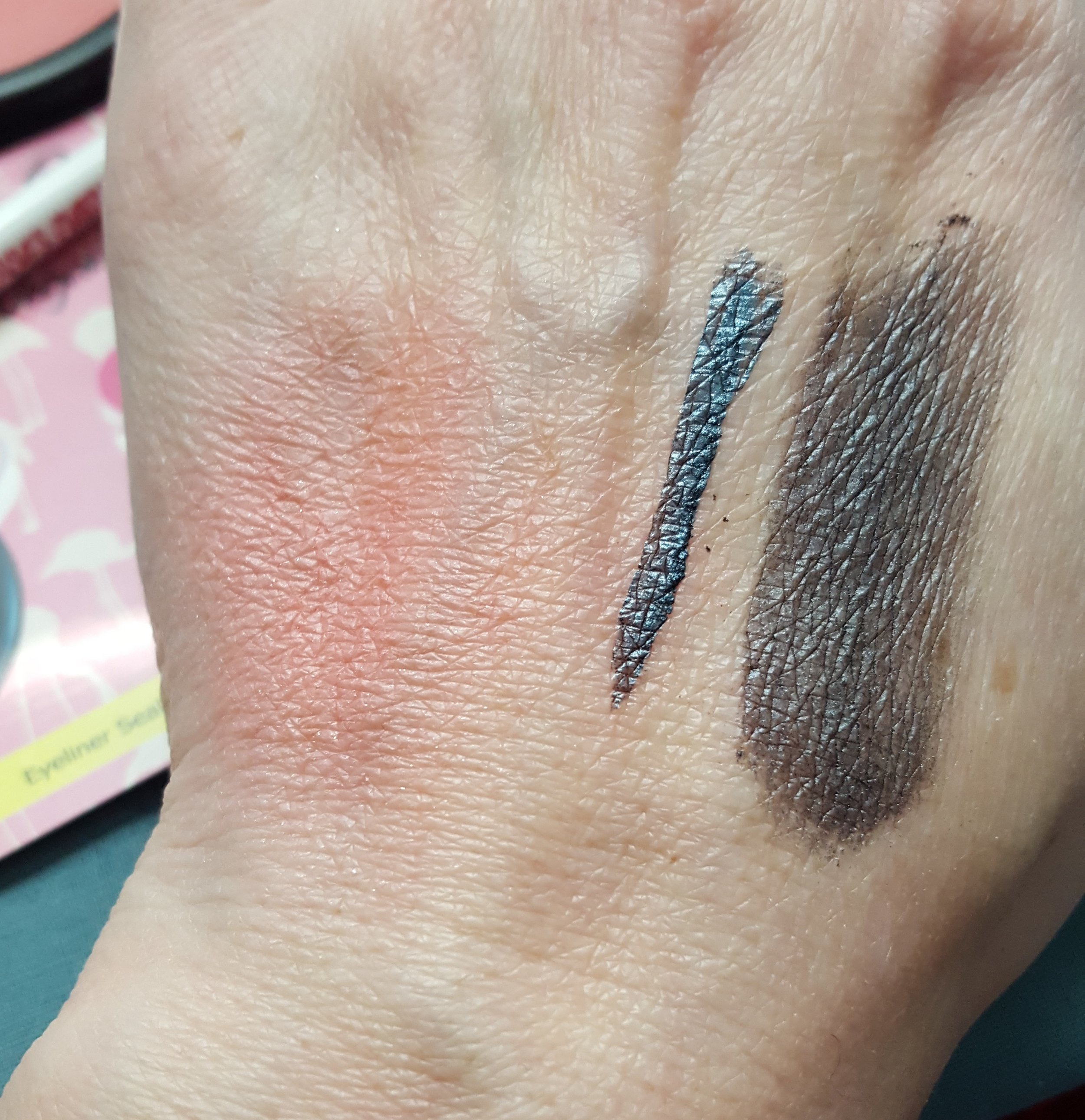L to R: Blush swatch; Helter Skelter with eyeliner seal; Helter Skelter dry swatch