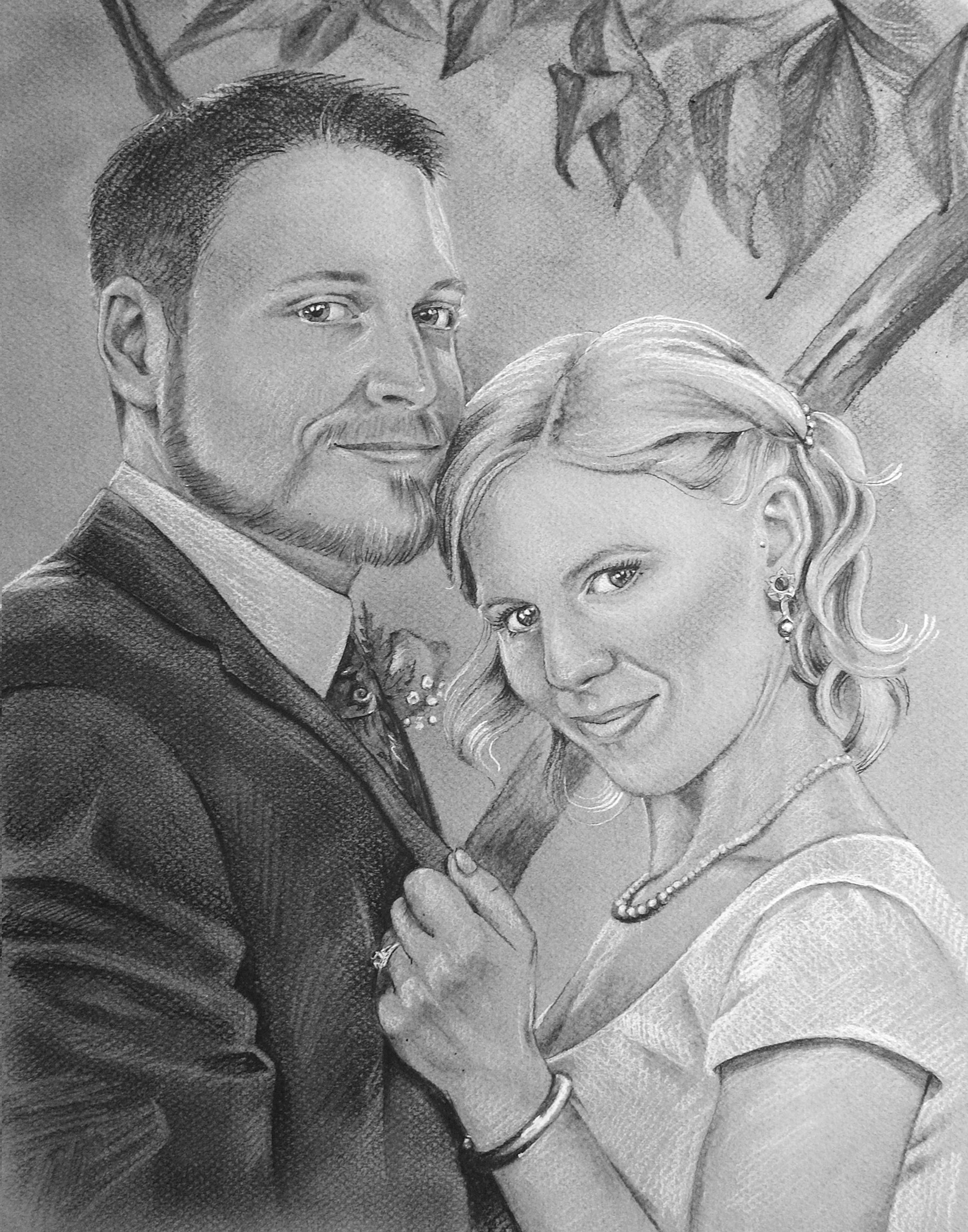 "BILL & KAREN   | 11x14"" charcoal on paper"