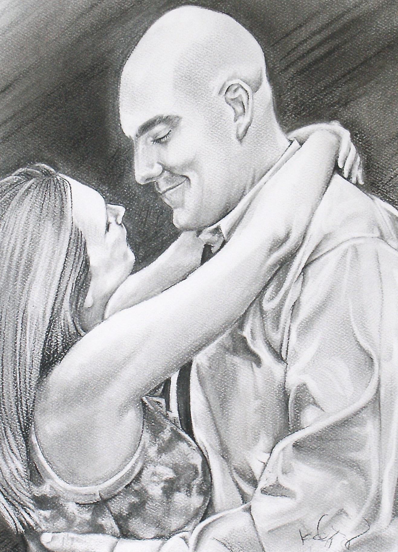 "AMANDA & BEN   | 11x14"" charcoal on paper"
