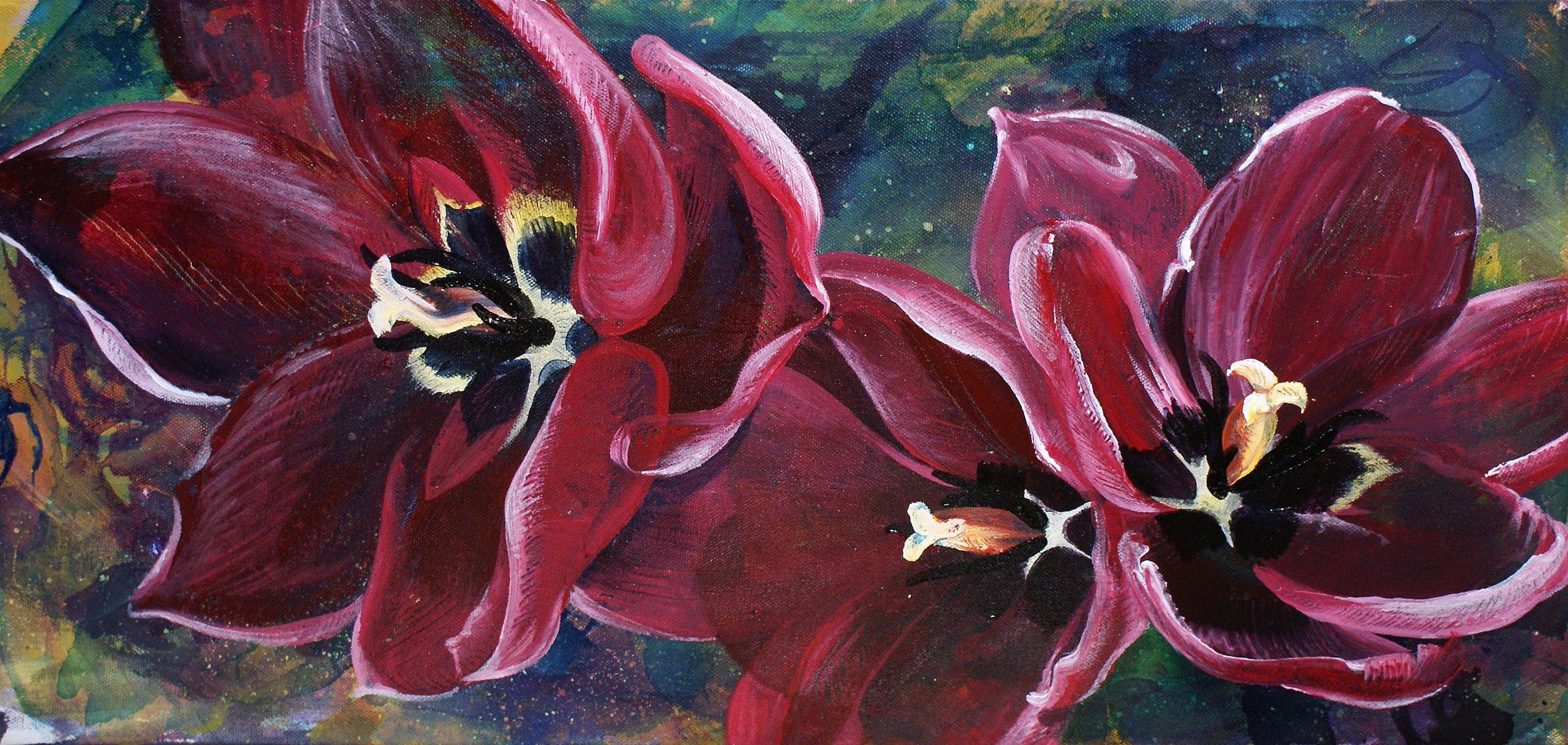 "THUNDER & TULIPS | 12x24"" acrylic on canvas"