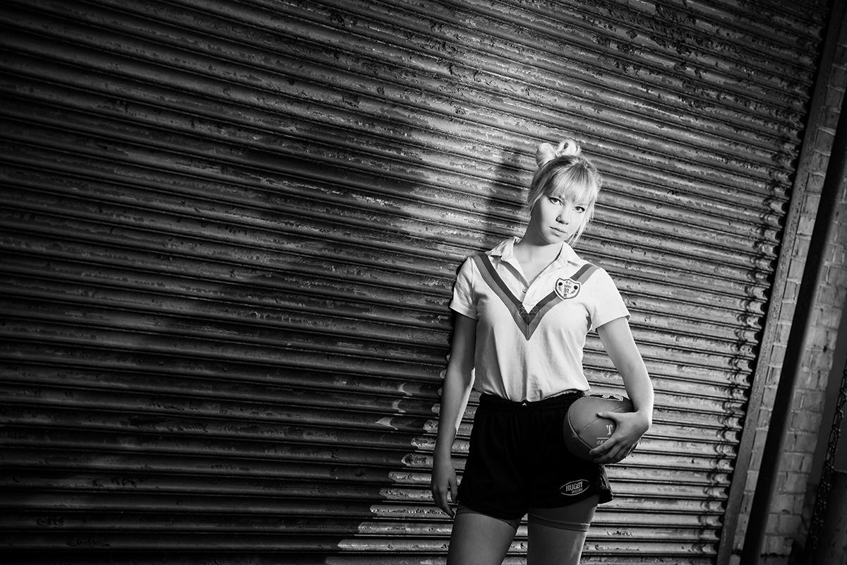 outdoor senior portraits-sports-football-shadow-Albany, Oregon
