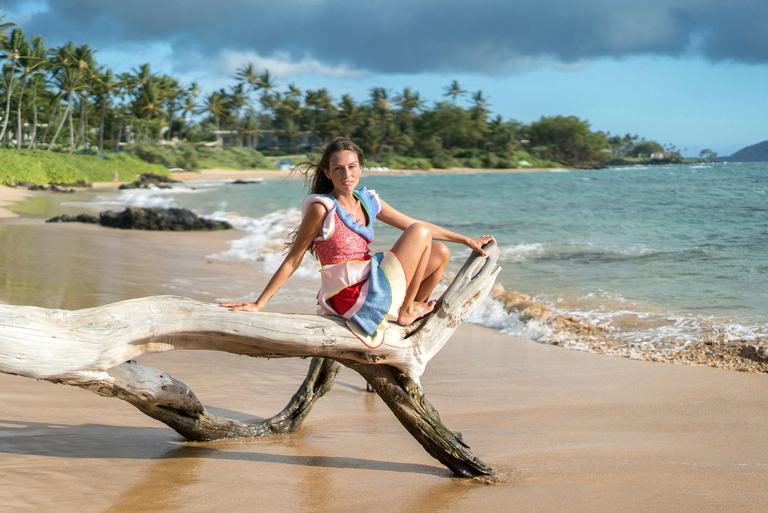 In Maui, dress by Alexander McQueen