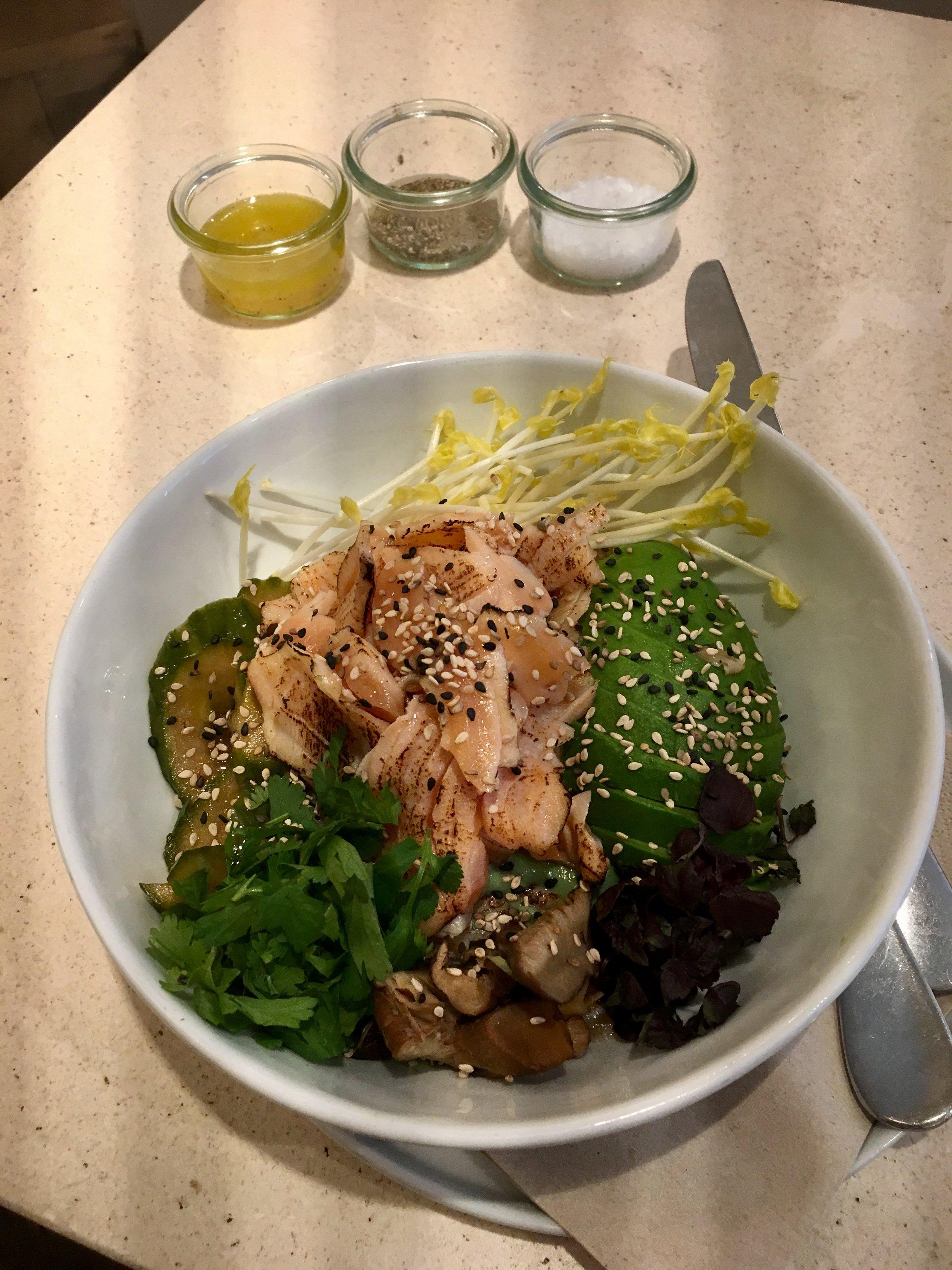 Seared salmon sashimi, avocado and some fermented stuff on quinoa at Daluma.