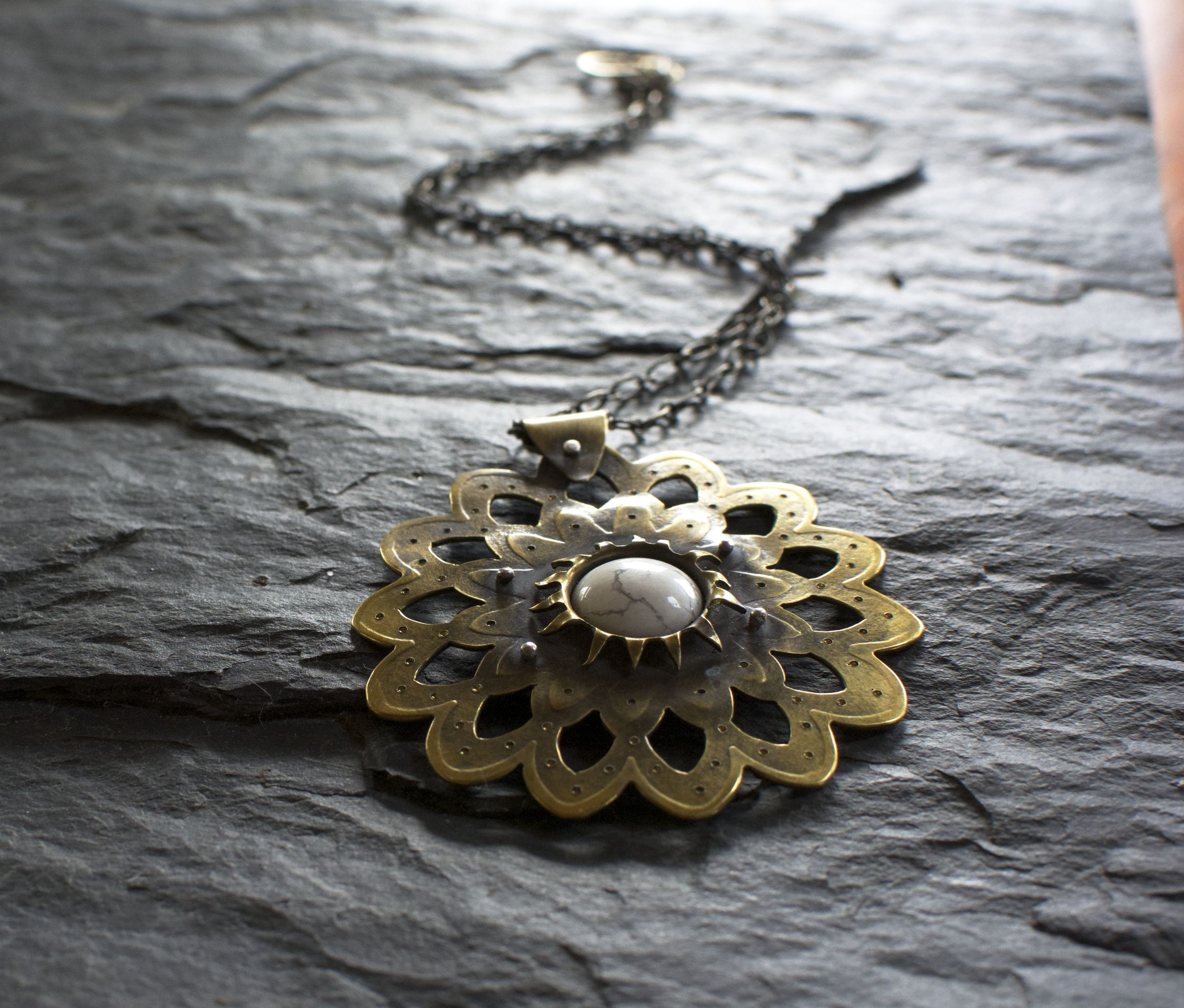 Lace lotus pendant with howlite