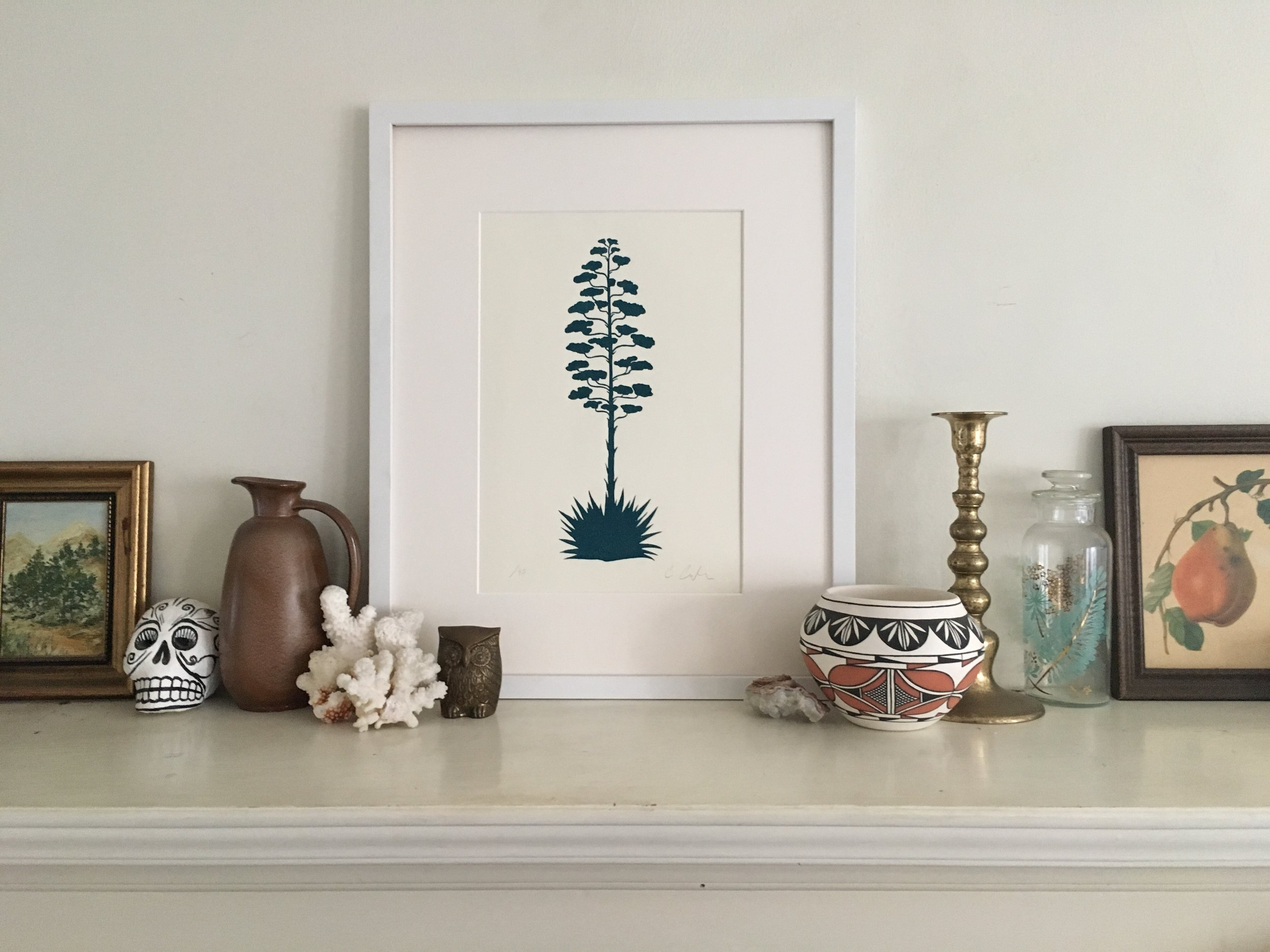 Century Plant Print, Teal on White
