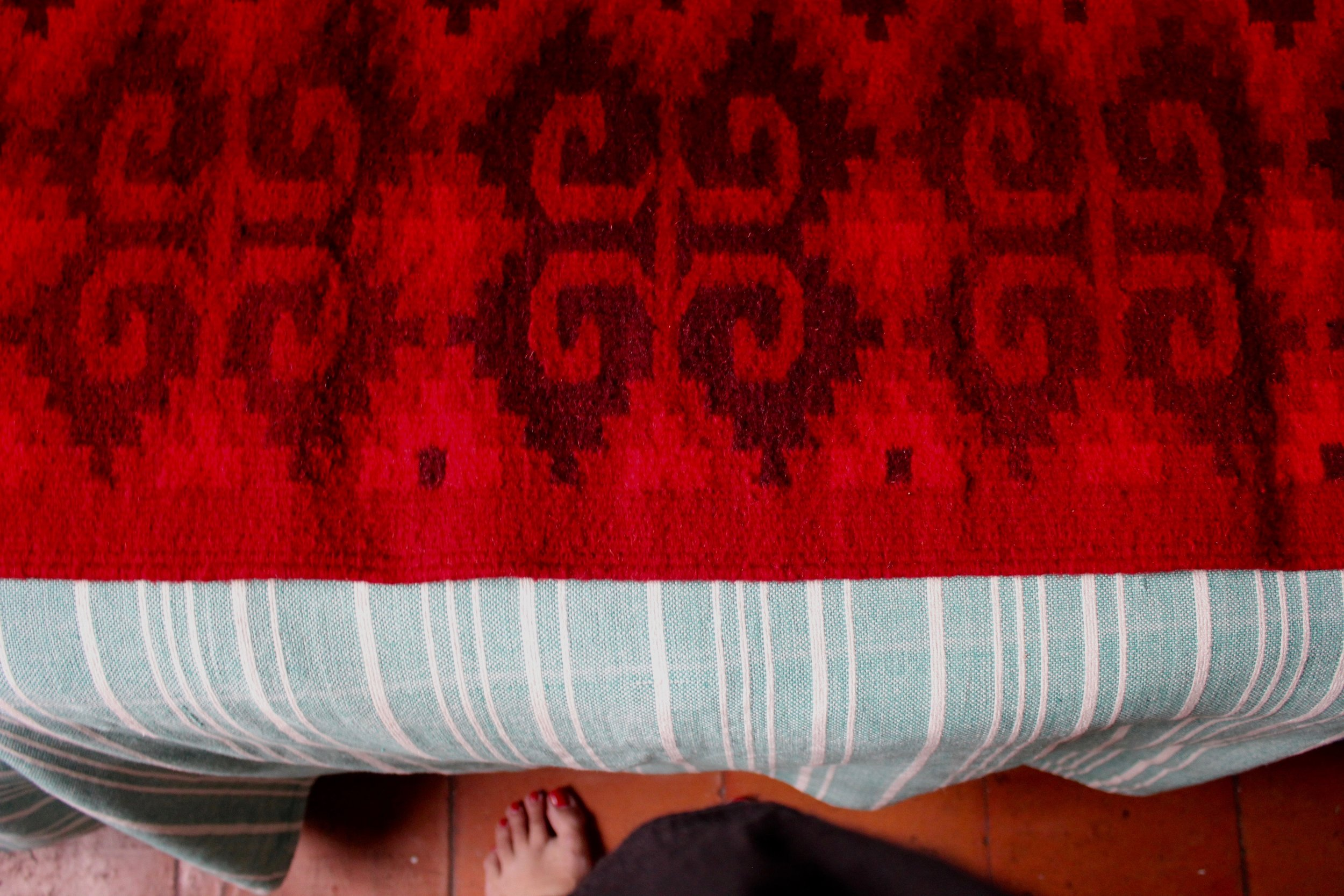 Red, red, red.  Our new rug from Teotitlan