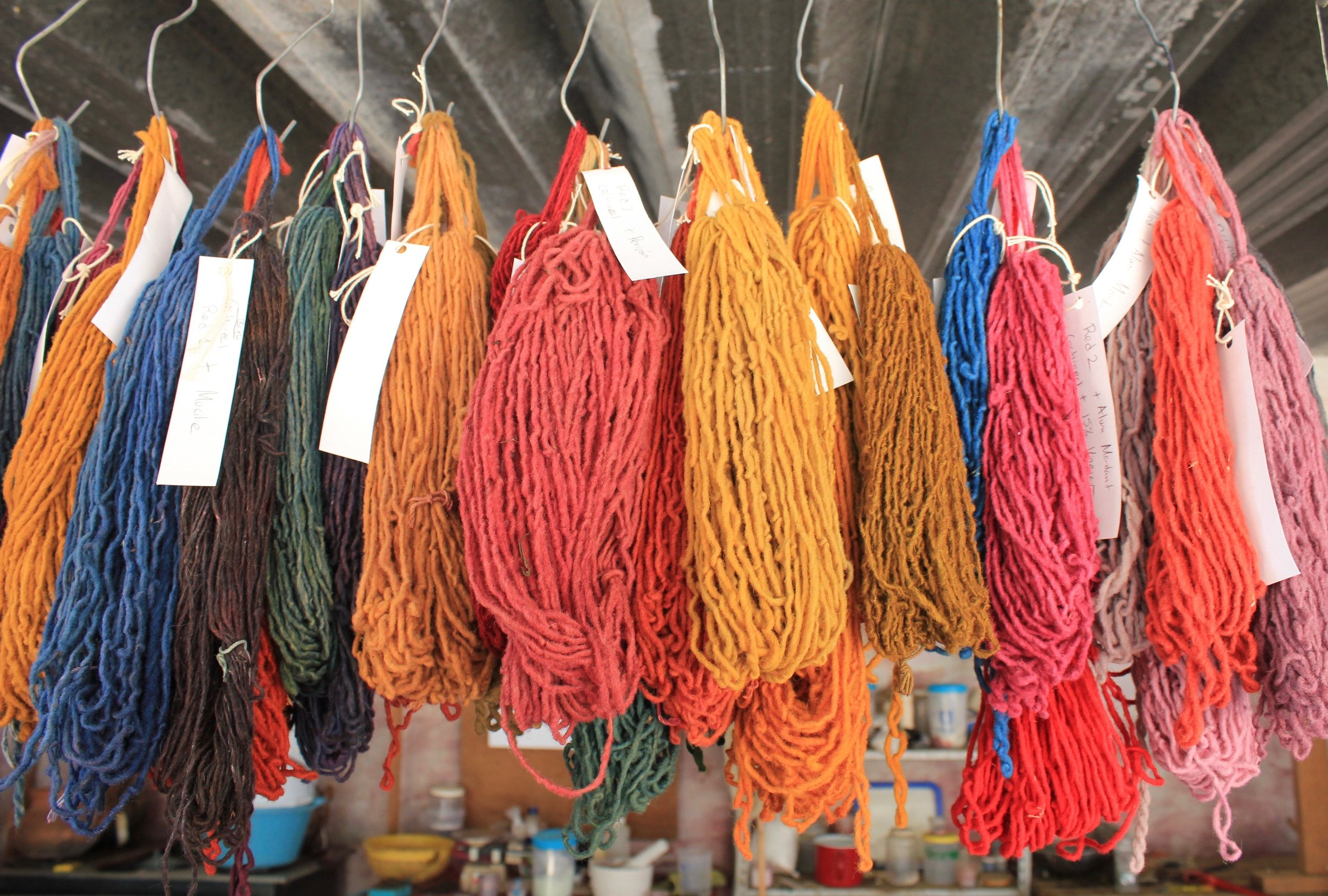 Fibers dyed and hanging to dry at Tlapanochestli