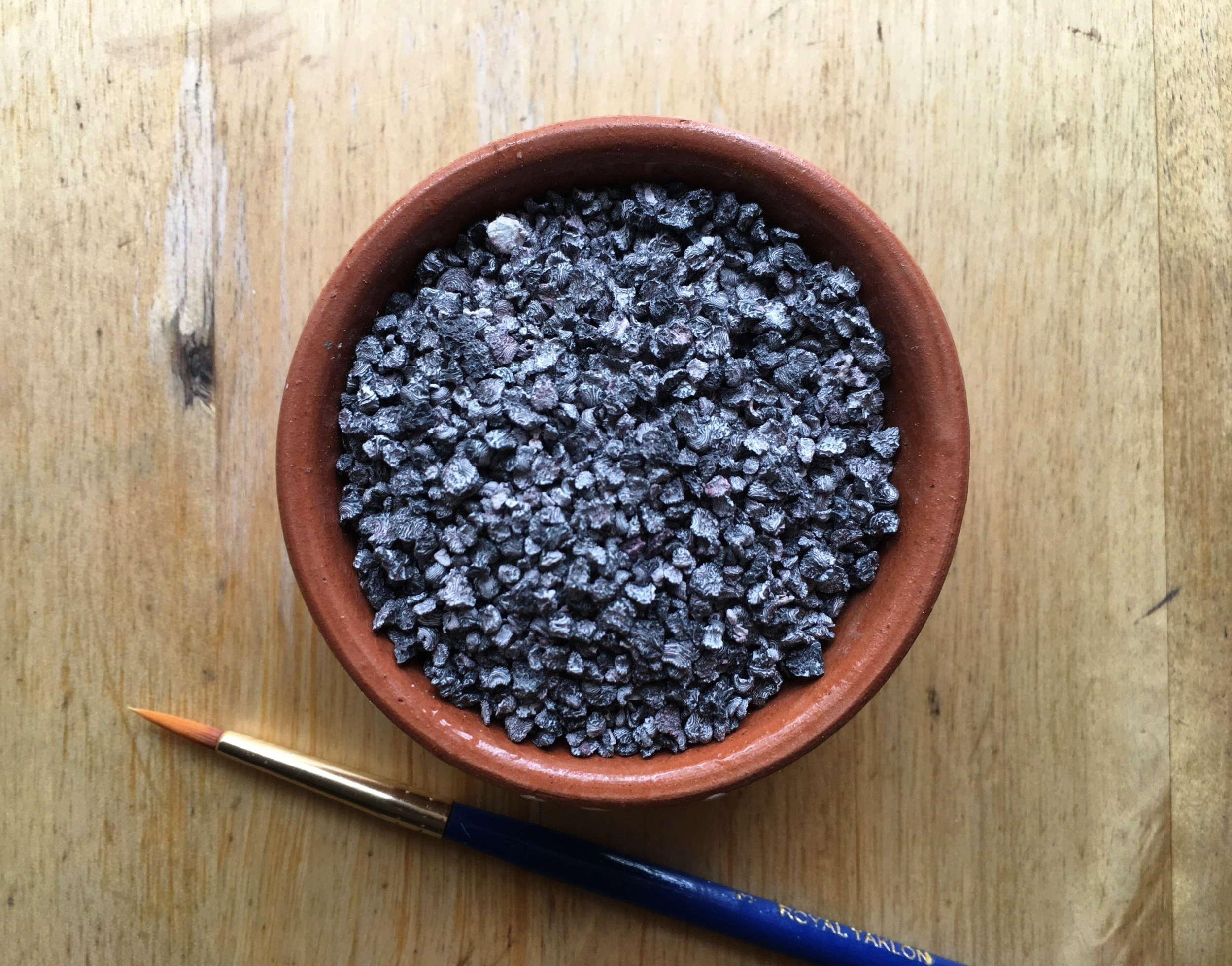 Not gravel, a little bowl of dried cochineal