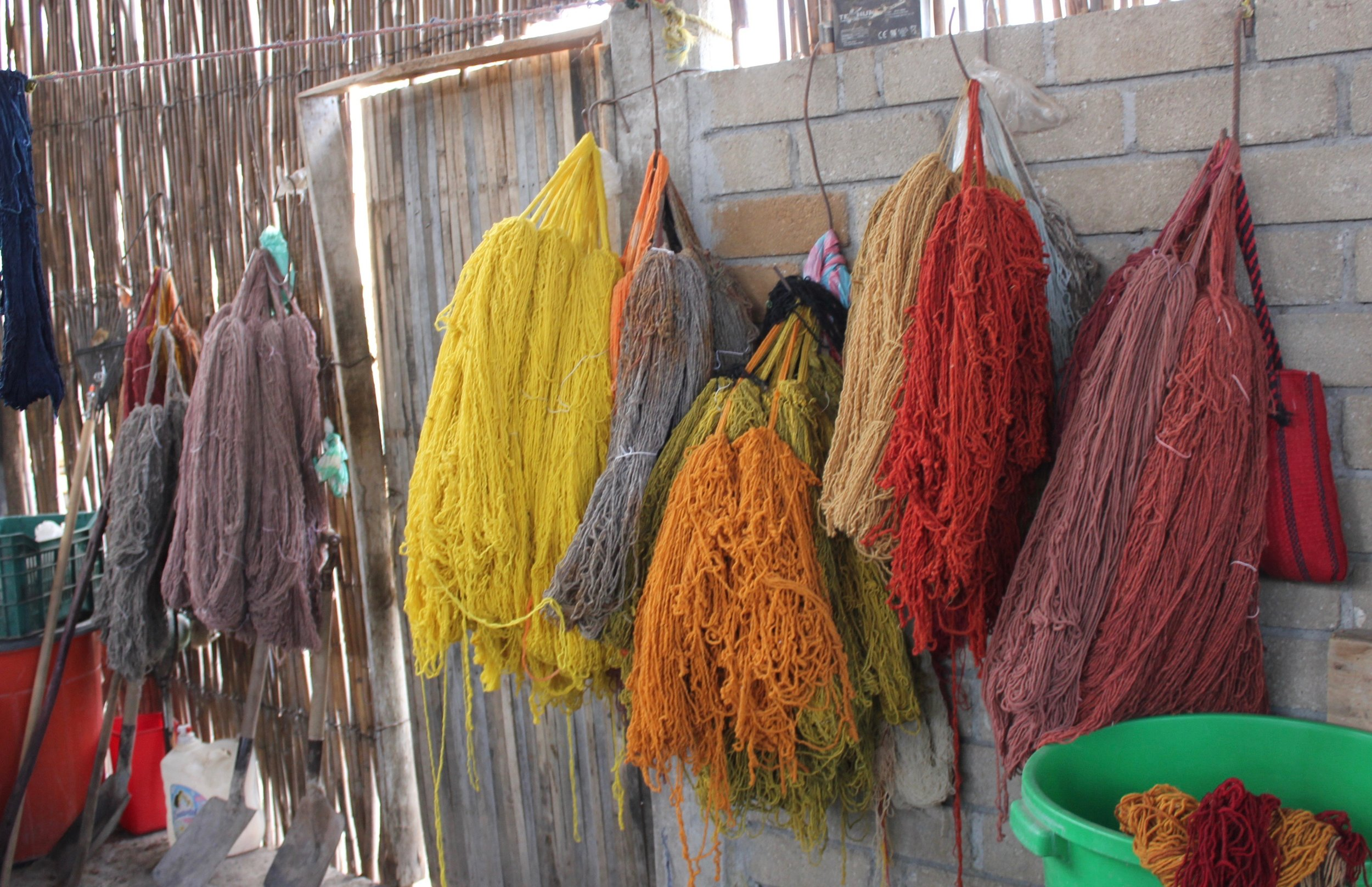 Yarns curing at the weaving workshop of Rosario Martinez Vasquez and Ernesto Maldonado Gonzalez