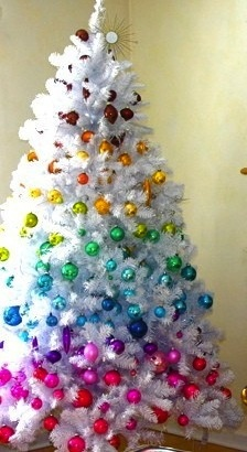 A pretty rainbow-themed Christmas tree.