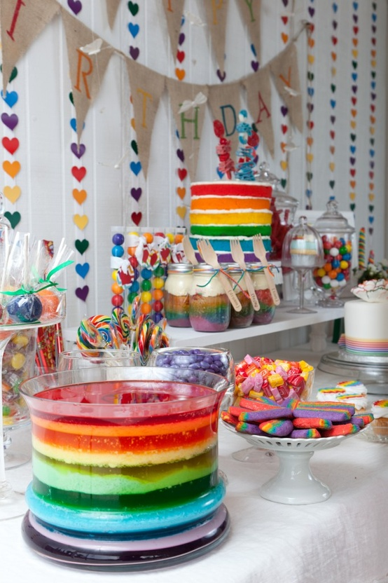 Cute and colorful – gather inspiration from the popular rainbow party theme.