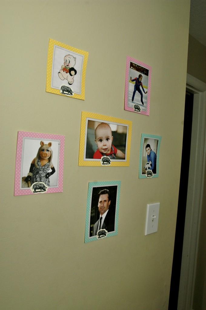 """Famous Hams"" wall – Scott Hamilton, Porky Pig, Mia Hamm, Jon Hamm, Miss Piggy, and our very own Hattie Ham."