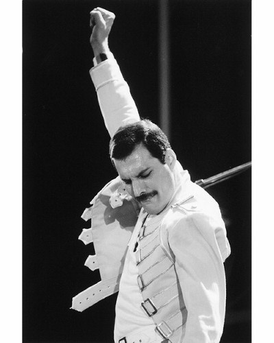 This classic Freddie pose would definitely gain you points in a Rock Band contest.
