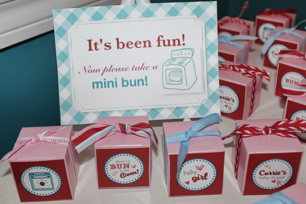 """Bun in the Oven"" baby shower favors – mini cinnamon buns in custom boxes"