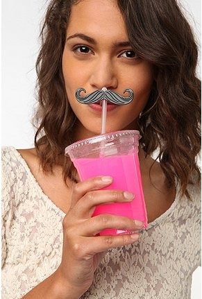 Obligatory mustache straws in bright pink cocktails