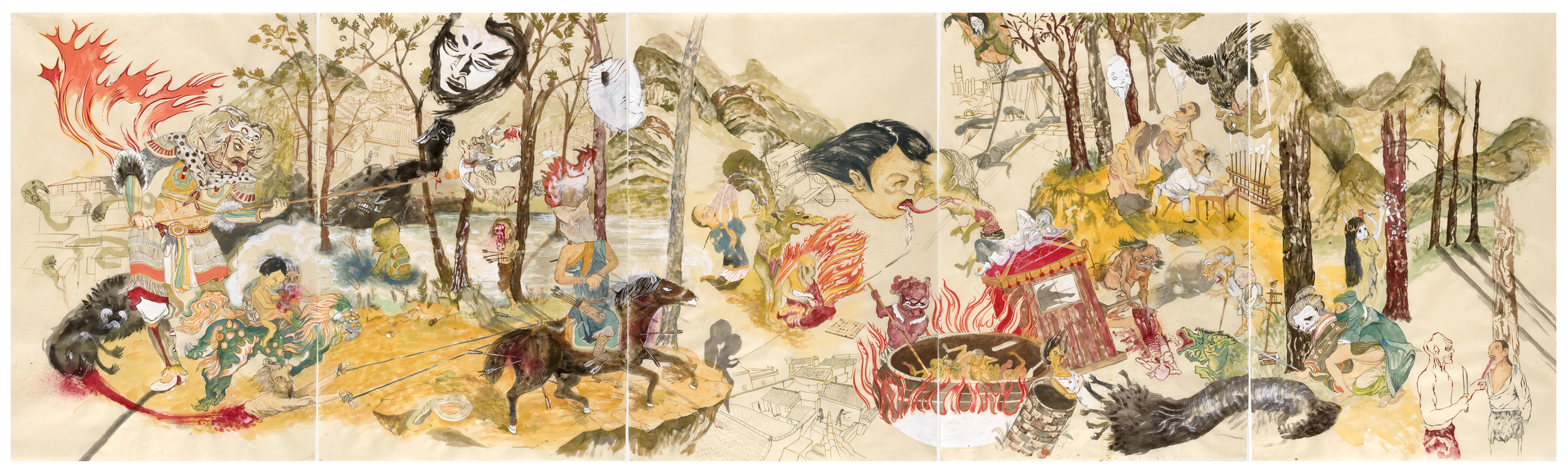 "Forest Romp  , 2009, 38"" x 125"", ink and paint pigment on mulberry paper"