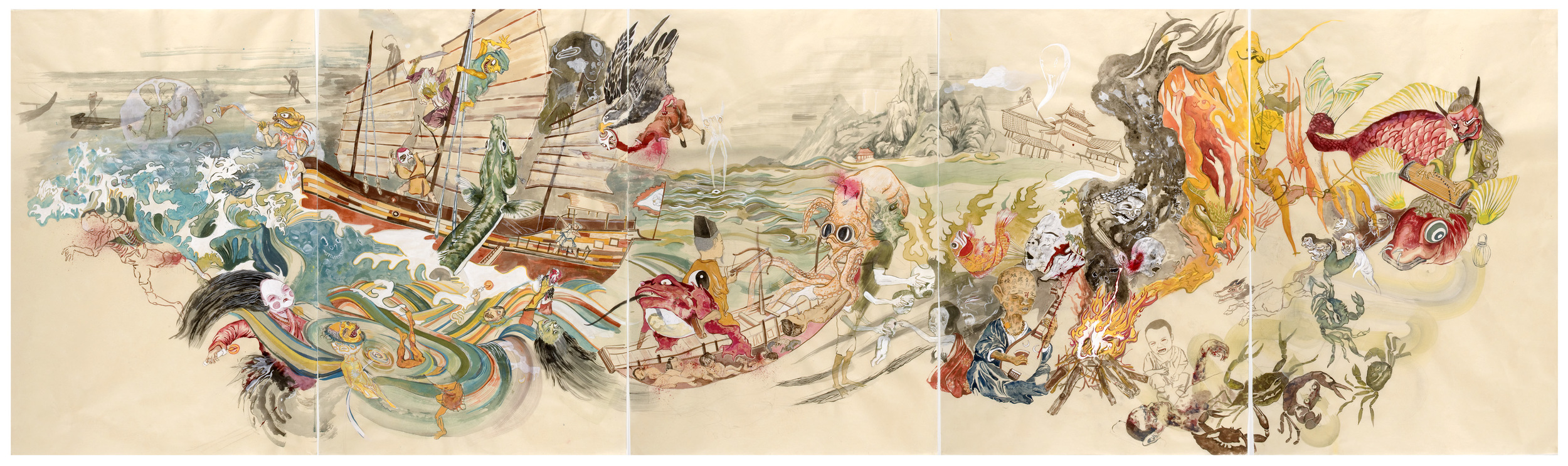"Dead Sea  , 2009, 38"" x 125"", ink and paint pigment on mulberry paper"