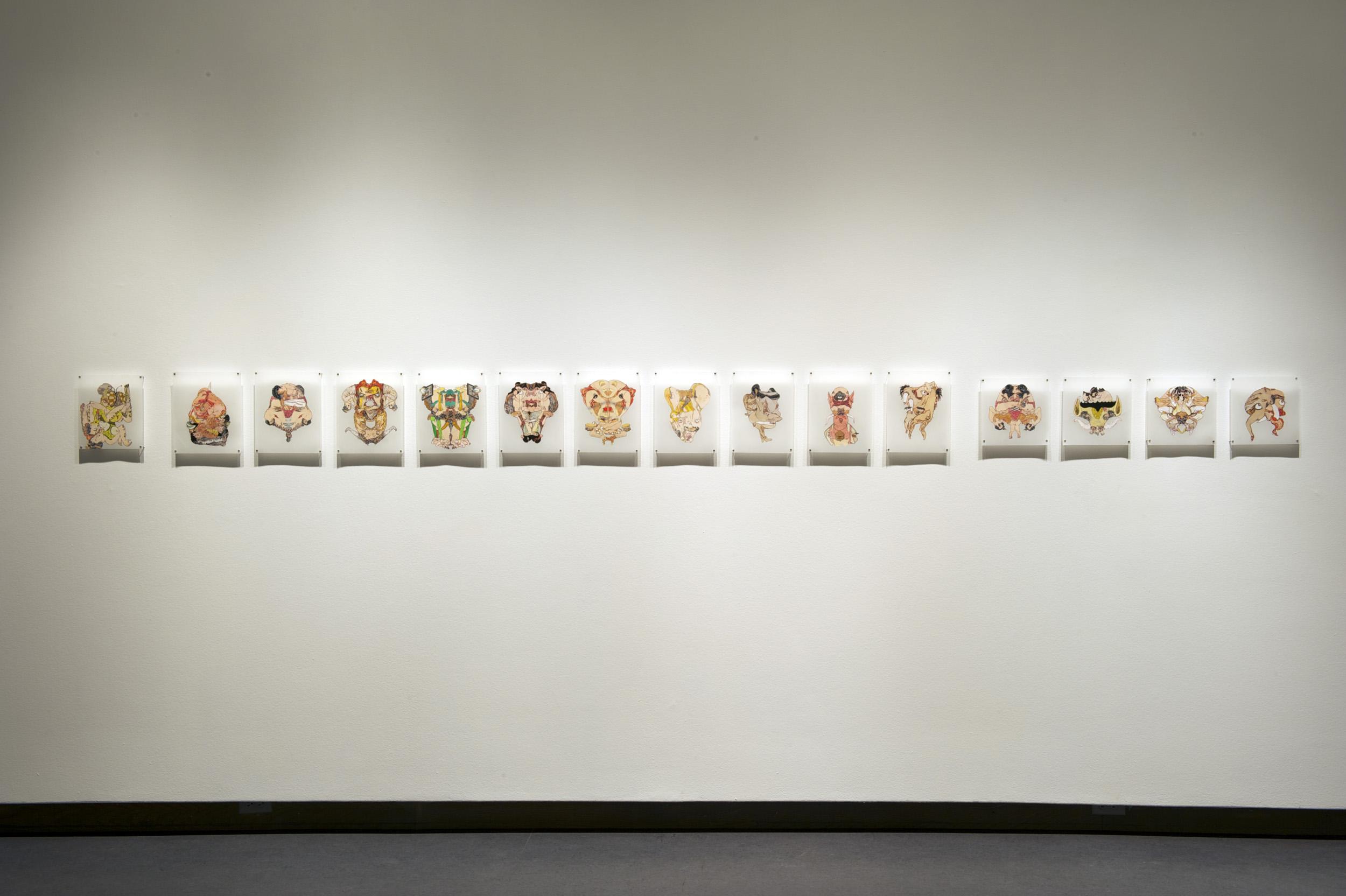 Of Shunga & Monsters, 2007 - 2008, acrylic, ink and collage on polyethylene drafting film