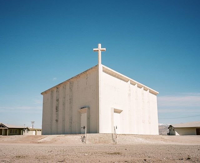 Desert church in late afternoon light. Shot with #portra160