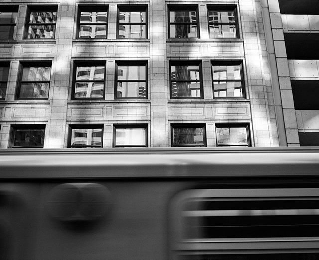 Speeding train abstract on the CTA. Riding with a a few roles of #tmax400. @statefilm @kodak