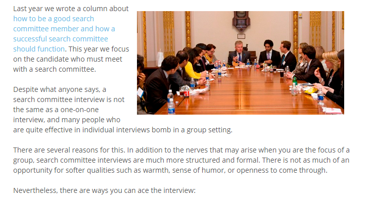 """Jane Howze shares """"How to Ace a Search Committee Interview"""" inTaglines Magazine."""