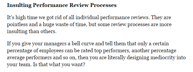 Forbes contributor Liz Wright suggests that the performance review process is passé.