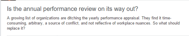 LinkedIn Groups question to SHRM members about the relevance of performance reviews.