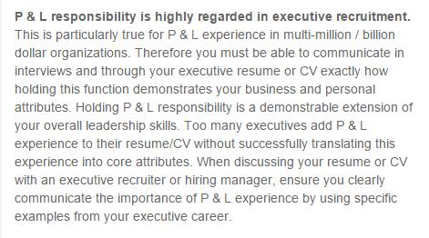 BlueSteps.com underscores the importance P&L management experience holds for senior executives.