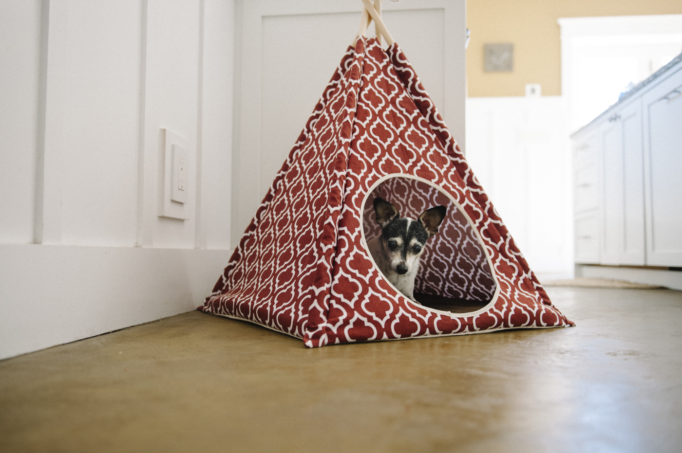 This teepee is a great play place + hideout.