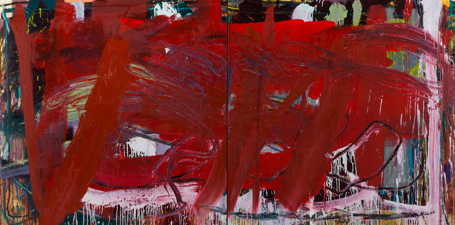 Two Reds  , oil on canvas, 48x96 in. ©Denise Gale 2015