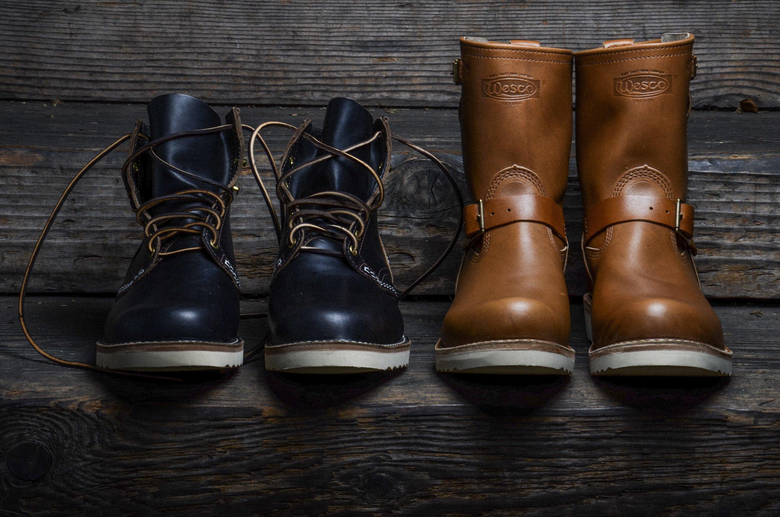 Horween Leather Wesco Boots Black Bear Brand Rio Latigo chromexcel boss jobmaster