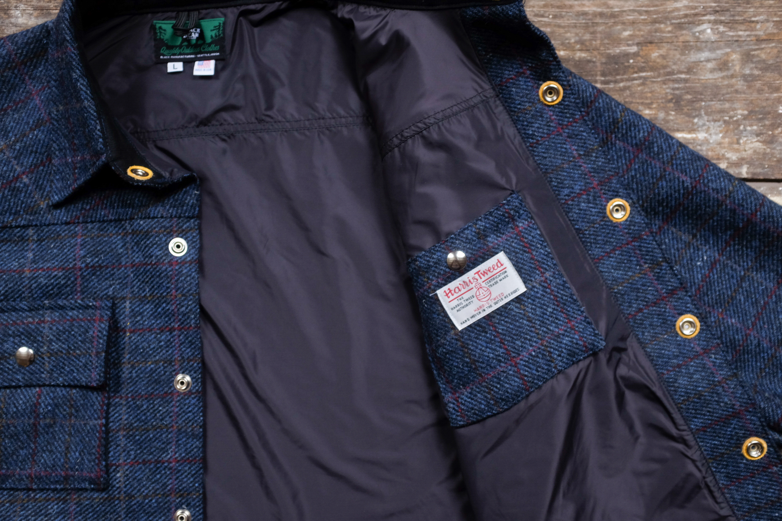 Black Bear Brand Navy Harris Tweed Shirt Jacket