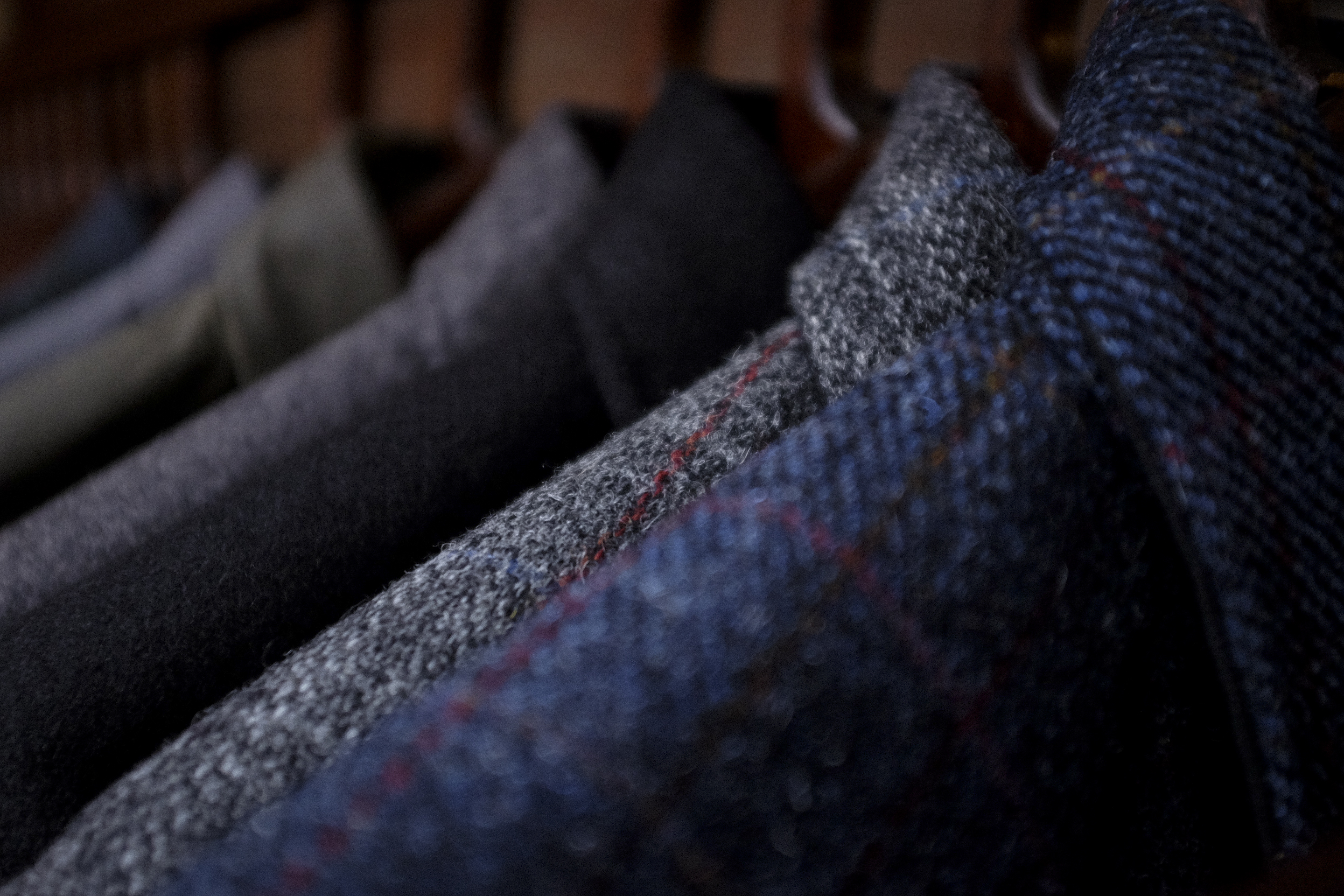 Black Bear Brand Navy and Grey Harris Tweed Shirt Jacket