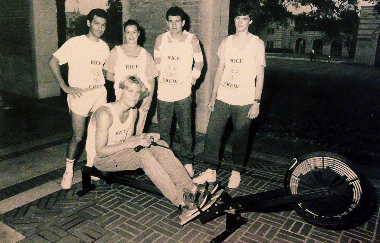 Lewis (sitting on the erg) and the fledgling team gave birth to Rice Crew, holding a 24-hour vigil on the indoor rower, a Concept2 Model B, to raise the funds for the first boat.