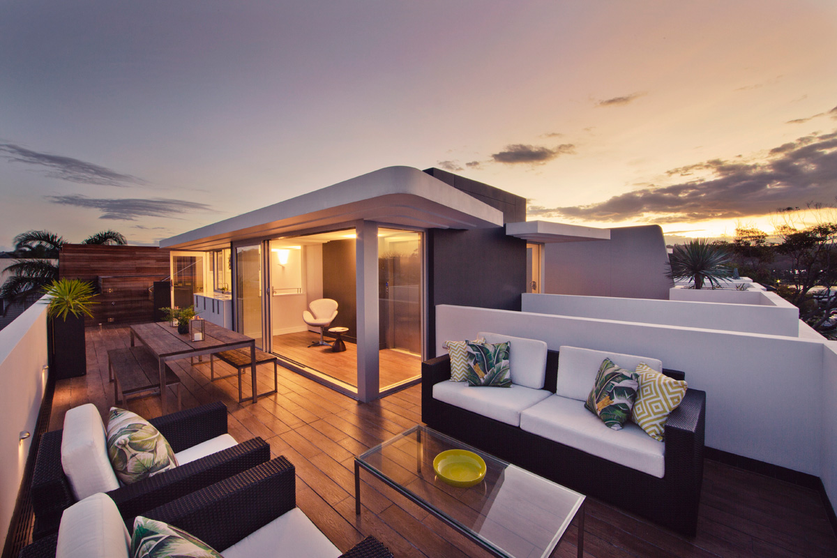 Roof top living at sunset