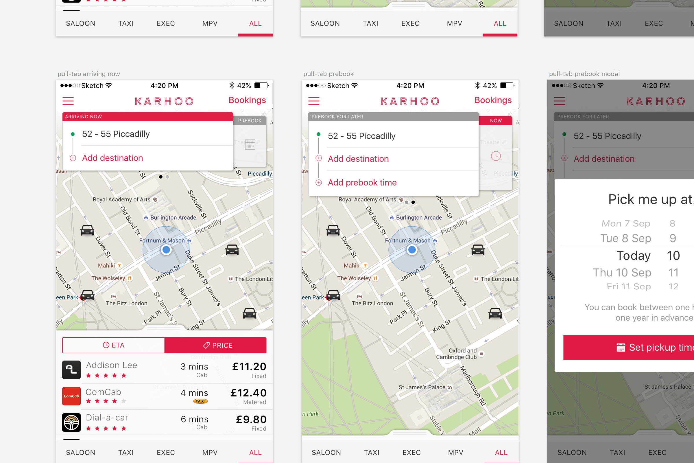 Work sample: iOS screen designs for Uber competitor, Karhoo.