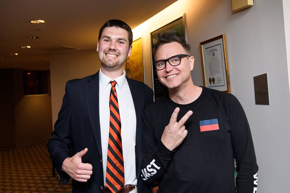 Music Director Charlie Hemler cheesin' with Blink 182's Mark Hoppus.