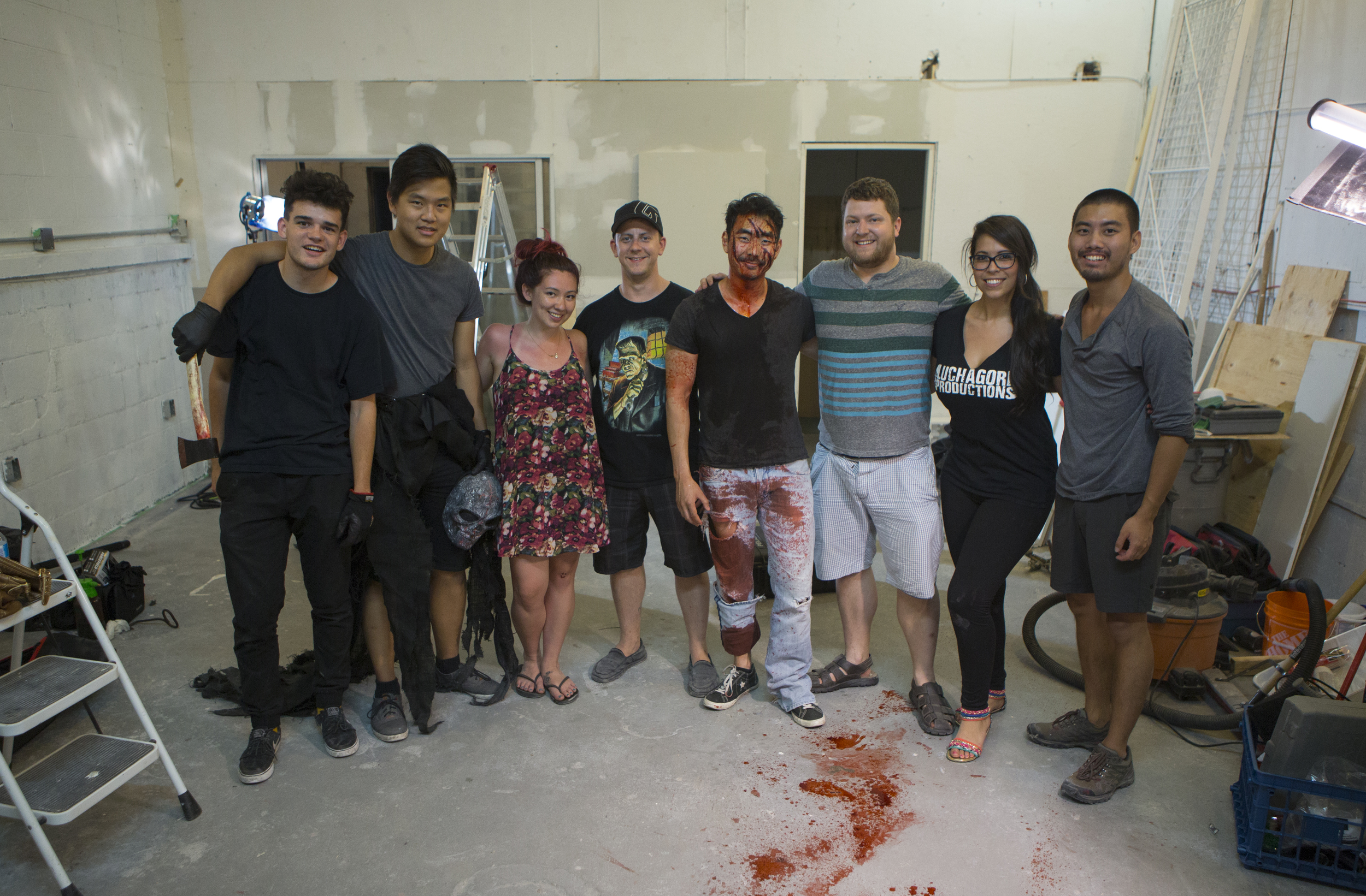 """The Cast & Crew of """"Run & Gun: Horror Promo"""". From left to rightDylanMcGale (Sound/Lighting), Nach Dudsdeemaytha (Producer/Lighting/Monster),  AkinaMcCrea (Special Effects Makeup),DallasHarvey (  Special Effects Makeup), Lee Shorten (Actor), Joel Ashton McCarthy (Producer/Writer/Director), Gigi Saul Guerrero (Actor),Charles Chen (Producer/DOP)"""