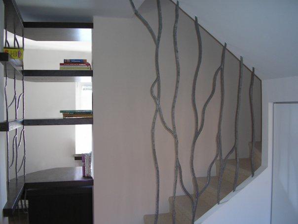 Pregradni zid, stepeniste kovano gvozdje - privatna kuca - Beograd.    Rad Nikole Pantovica