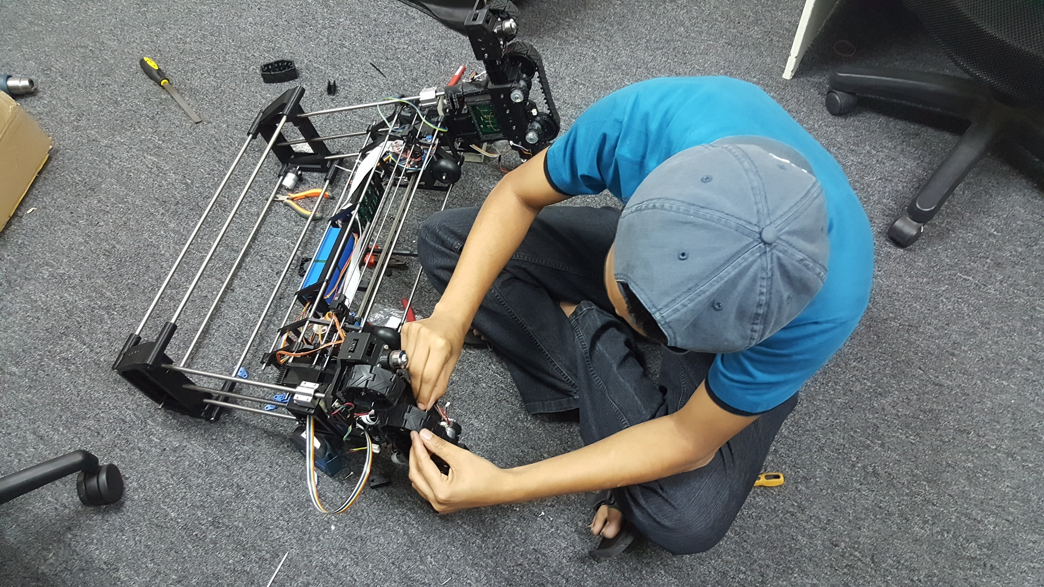 One final adjustments to install the wheel before we can test run the robot!