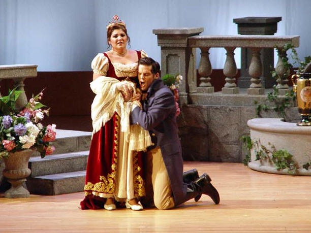 With Alicia Gianni in scene from Eugene Onegin, Florida Grand Opera Young Artist Showcase; photo by Deborah Gray Mitchell