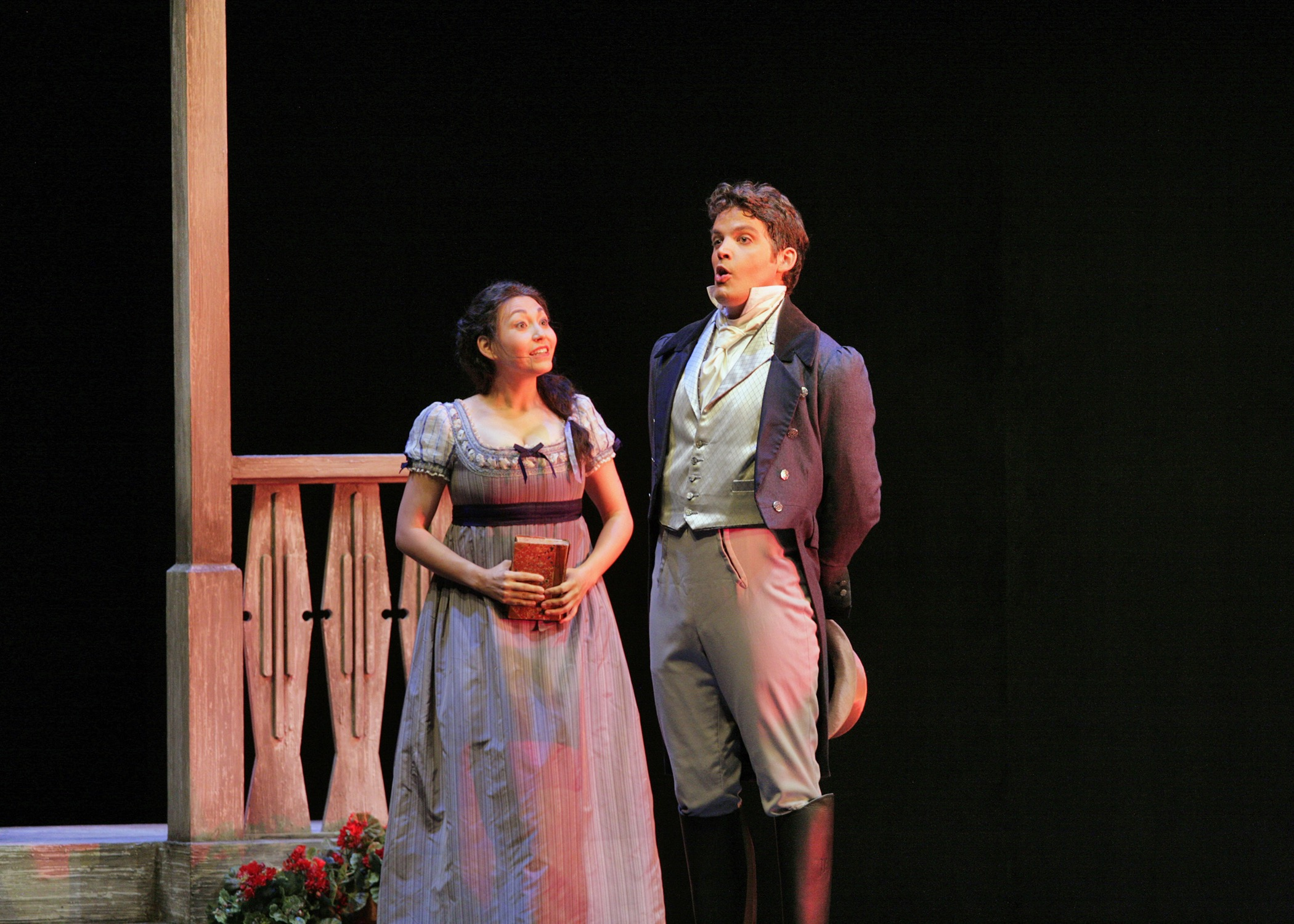 With Laura Choi Stuart in scene from <i>Eugene Onegin</i>, Santa Fe Opera; photo by Ken Howard
