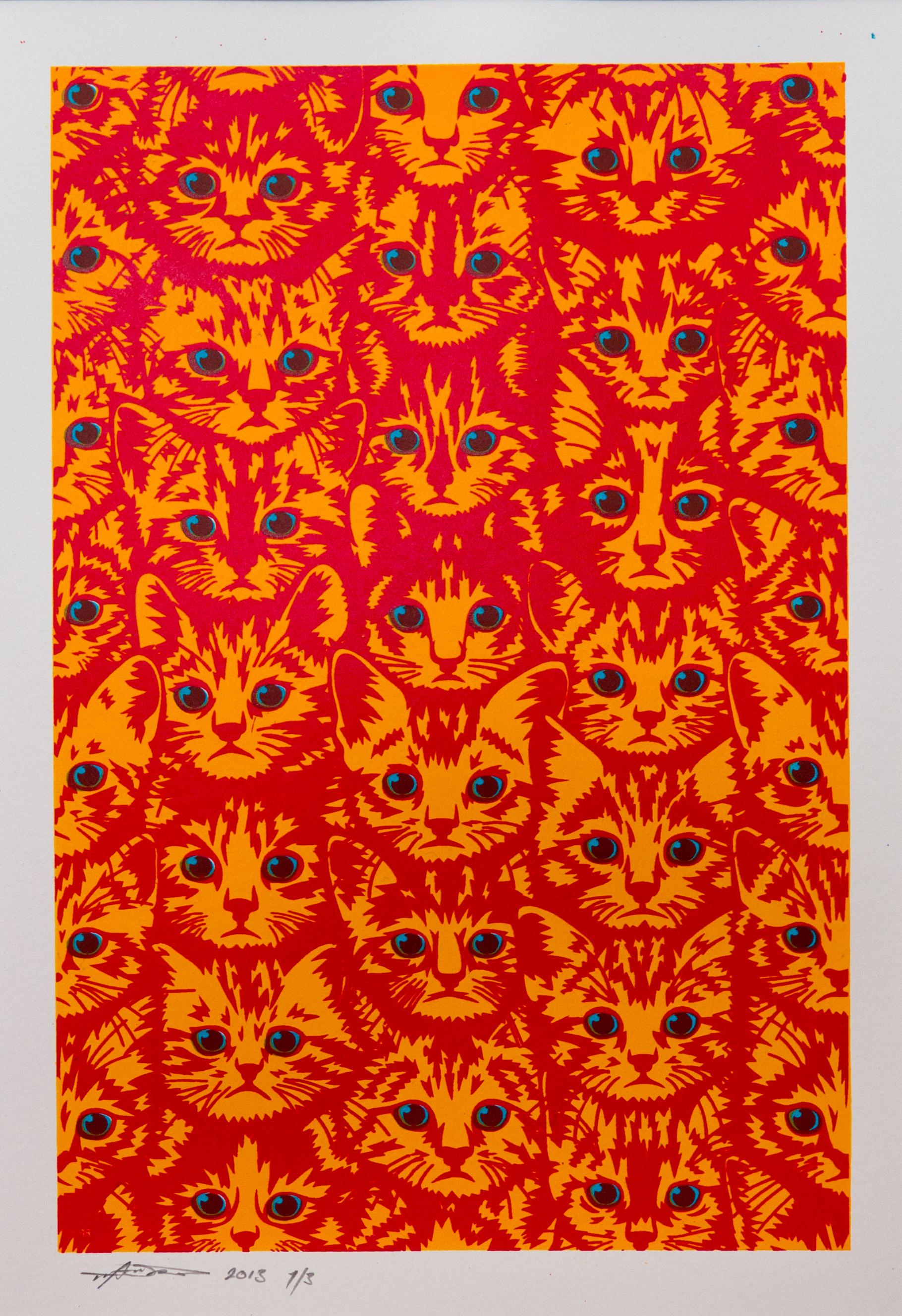 Tim Andrew. Kitten Screen Print.
