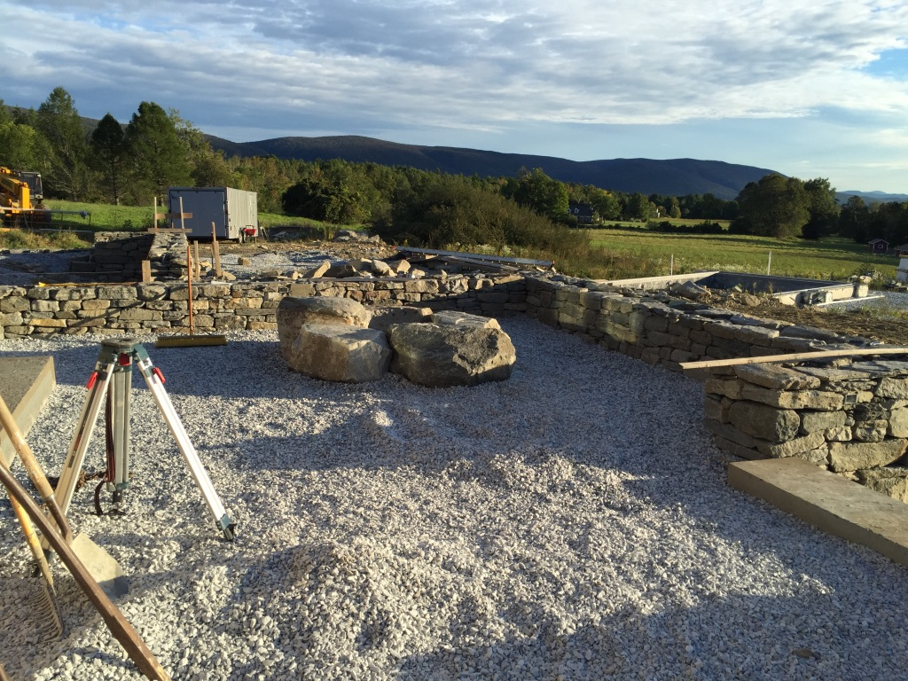 Firepit and terrace construction.