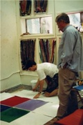Kenneth Noland shaping one of my paintings