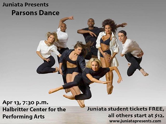 TOMORROW Parsons Dance will be performing right here at Juniata College! Don't have your tickets yet? No problem!  Juniata student tickets are FREE at the Ellis Information Desk. All others start at $12 and can be purchased at www.juniatapresents.com! #seeyoutomorrow #dancegroup #tickets