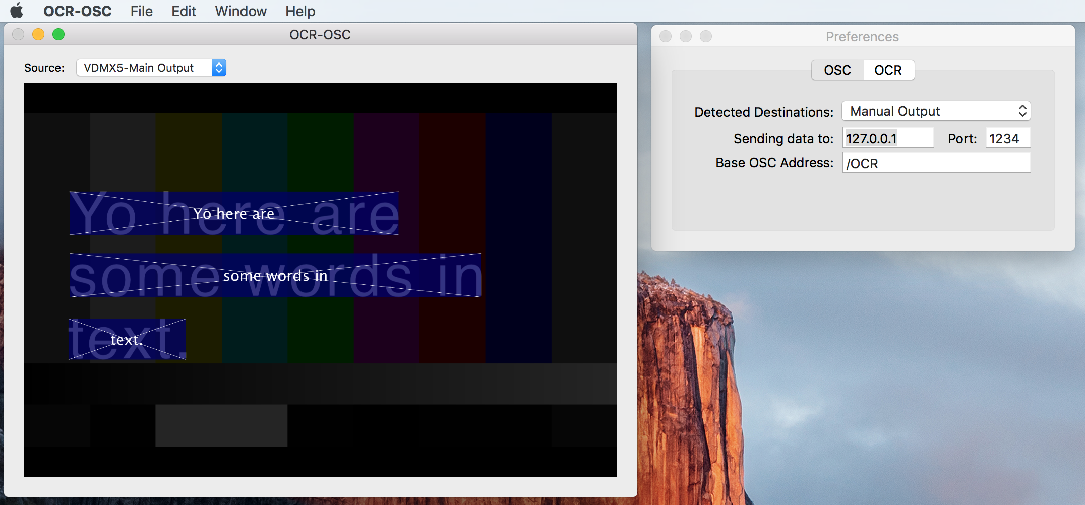 OCR-OSC display interface and preferences pane.