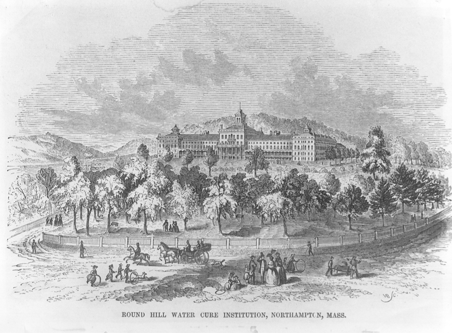 """Located at Historic Northampton, an etching of Ephemera-Health-Water Cures. The water cure purportedly offered relief from a variety of ills through hot baths and """"motorpathy and motion of life."""""""