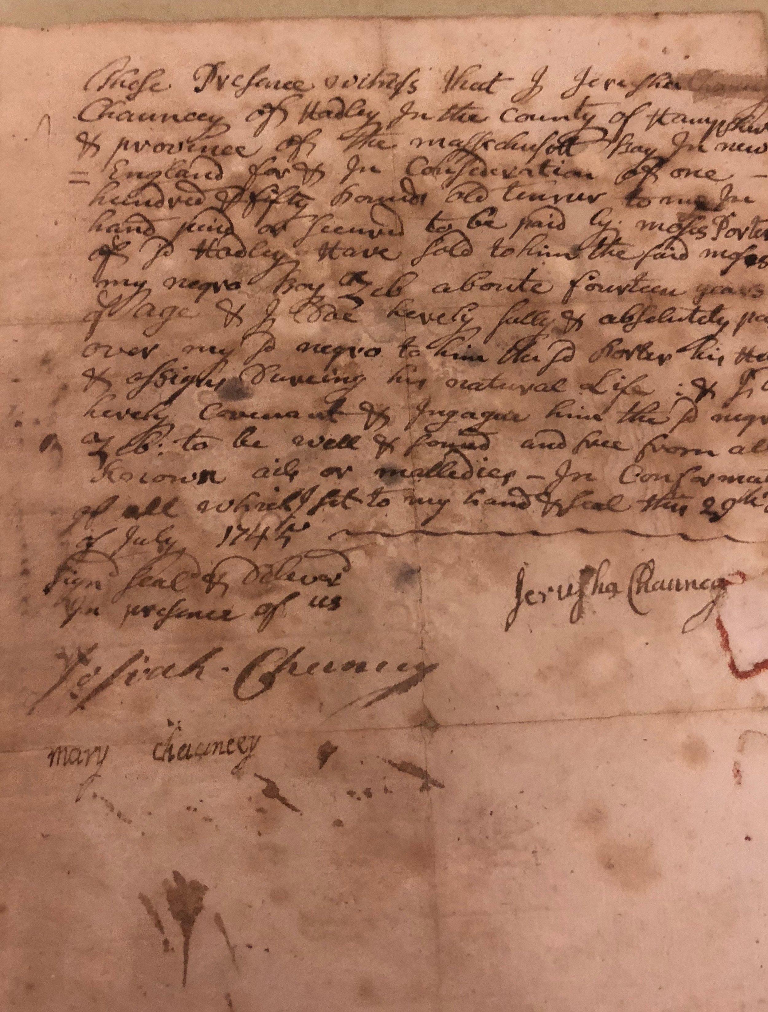 Receipt for purchase of Zebulon Prutt. 1745