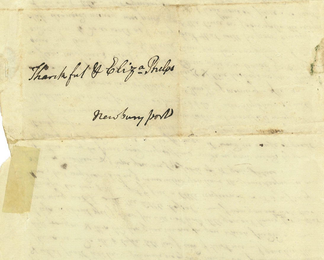 A 1794 letter from Elizabeth Porter Phelps addressed to her daughters. Box 5, Folder 2, Porter-Phelps-Huntington Family Papers, Amherst College Archives & Special Collections, Amherst, Massachusetts.